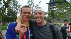 Garrett McCaffrey at the 2008 Olympics with 50 Free Champ, Cesar Cielo.