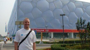 Garrett McCaffrey outside of the Water Cube at the 2008 Olympics