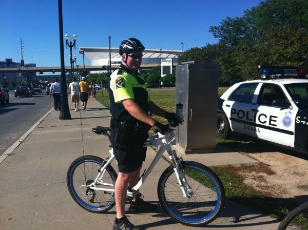 This shot, from @USA_Swimming, shows the new bikes that BMW donated to the Omaha police force for trials