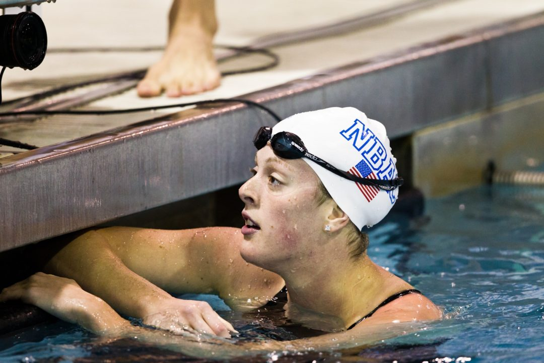 Schmitt reacts to her Record 1:55.04 200 Free