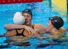 100 Backstroke finish with Rachel Bootsma & Natalie Coughlin, 2012 Olympic Trials. Photo Credit: Tim Binning