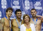 Anthony Ervin, Ricky Berens, Ricky's mom, Matt Targett, 100 free awards podium, 2012 Charlotte Ultraswim (Photo Credit: Tim Binning, theswimpictures)