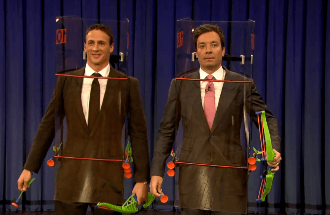 Ryan Lochte Bow and Arrow Shootout with Jimmy Fallon, Video Gold