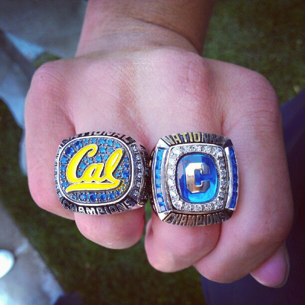 Jeremy Bagshaw 2012 and 2011 Cal Golden Bears NCAA Championship Ring