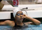 Lia Nea, 16, of Asphalt Green, at the 2012 Indianapolis Grand Prix, finish of the 100 freestyle championship final. (Photo Credit: Tim Binning, theswimpictures)