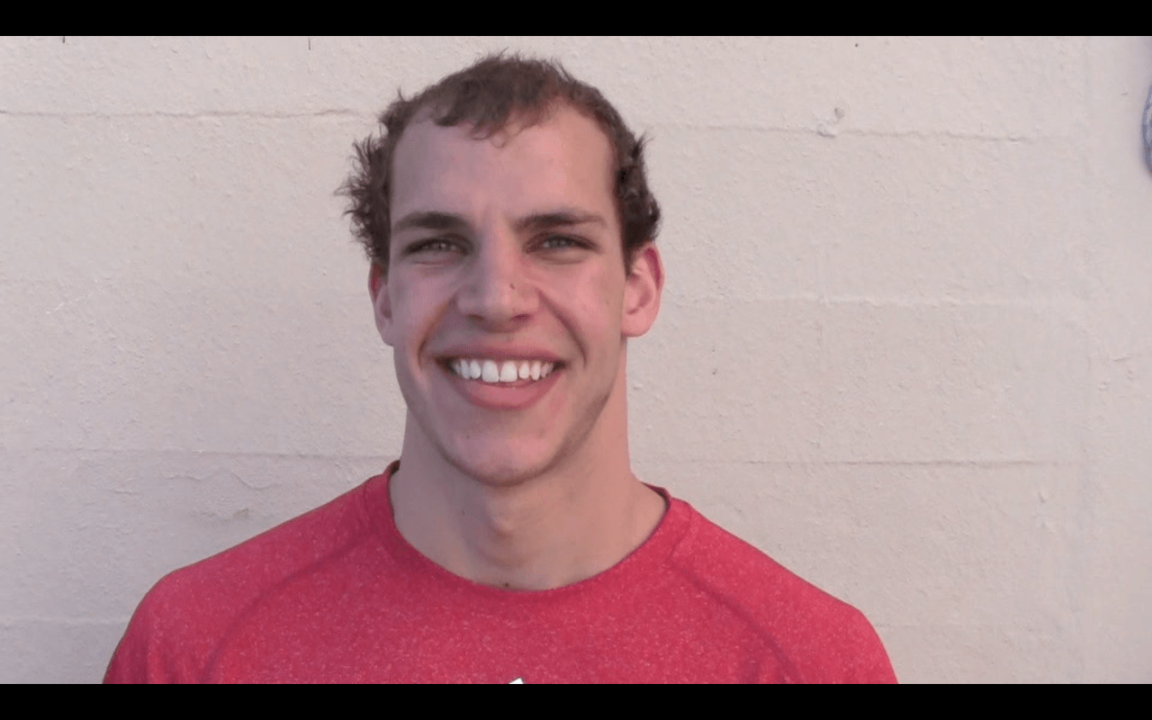 Michael Weiss, Univ. of Wisconsin Senior talks about winning at CA dual meets