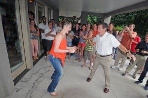 Missy Franklin and National Team Director, Frank Bousch, dancing at the 2012 US Olympic Training Camp