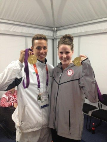Chad le Clos, 200 butterfly Olympic Medalist, with Missy Franklin