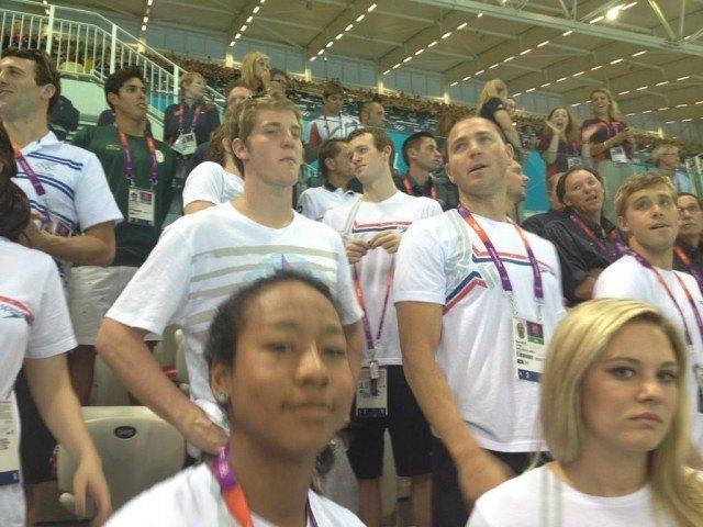 Team USA, in the stands. Clockwise: Jimmy Feigen, dd, ddd, Chloe Sutton