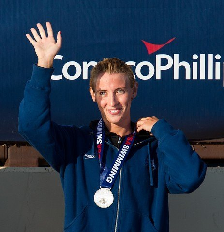 Madison Kennedy on the medal stand following a second place finish in the 50 free (25.09) at the 2011 ConocoPhillips National Championships (Photo Credit: Tim Binning, the swim pictures)
