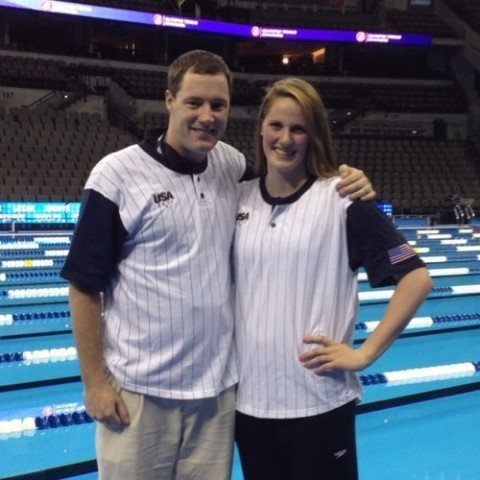 Coach Todd Schmitz of the Colorado Stars and his Olympic swimmer Missy Franklin