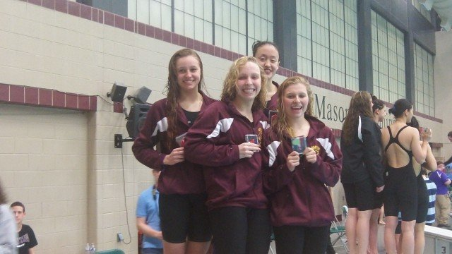 Oakton's 400 free relay team at the 2013 Virginia State Swim Meet