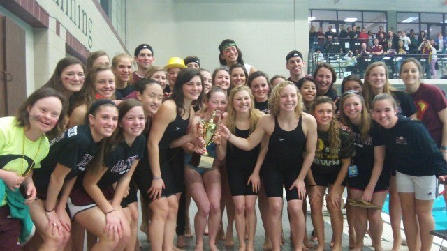 Oakton girls with championship trophy at the 2013 Virginia State Swim Meet