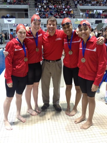 The Baylor School winning 200 and 400 medley relays (L-R) Hanna Peiffer, Kristen Vredeveld, Kimberlee John-Williams, Breann Roman.