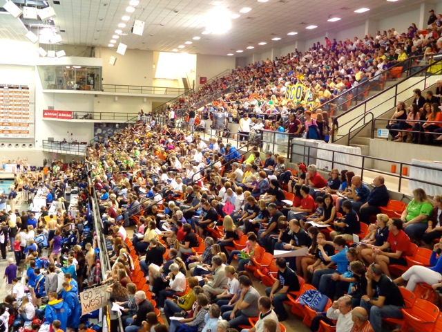 The stands at the Texas Swim Center were packed for the 2013 4A State Championship finals on Saturday. (Courtesy: Marylyn Toledo)
