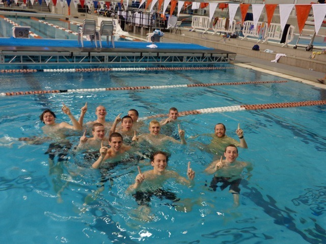 The Stratford boys celebrate their back-to-back State Championships on Saturday at the Texas Swim Center. (Courtesy: Marylyn Toledo)
