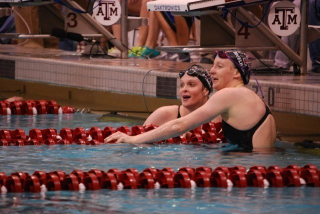 Cammile Adams and Caroline McElhany from Texas A&M Go 1-2 in the 200 fly. Credit: Janna Schulze