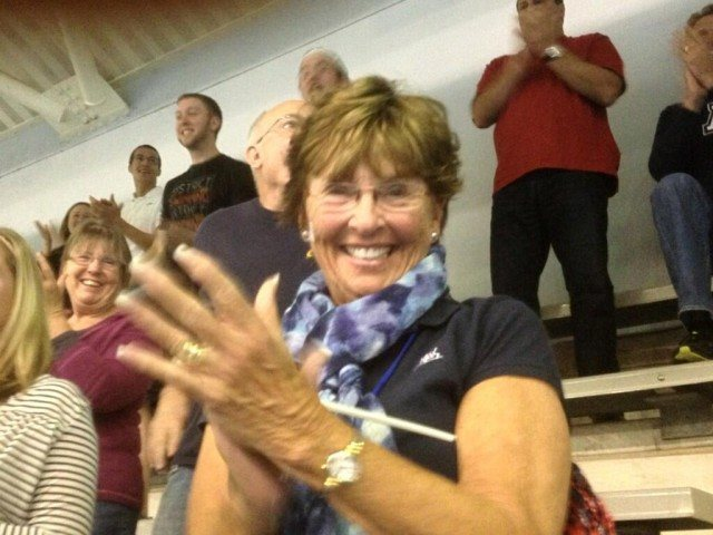Kevin Cordes' Grandmother (in the stands tonight) showing her support!