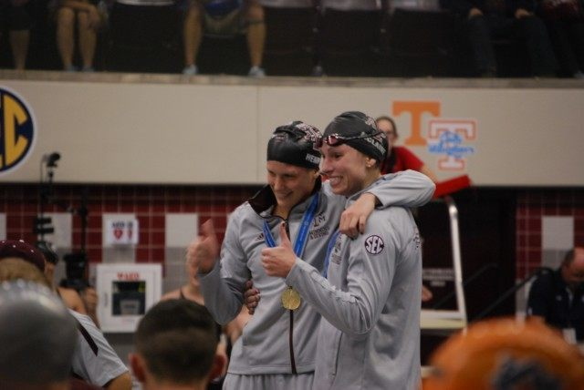 Texas A&M's Sarah Henry (left) and Maureen McLaine took 1st and 3rd in the women's 1650 free. Credit: Janna Schulze
