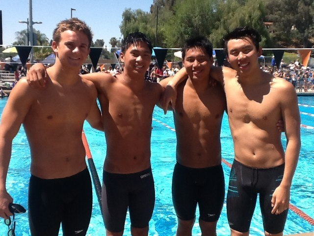 From R-L, Harrison Thai 23.56, senior Young Tae Seo 25.69, sophomore Edward Yi 22.97, senior Jacob Ksendzov 21.17 from the Crescenta Valley 200 medley relay. (Courtesy: Anne Lepesant)