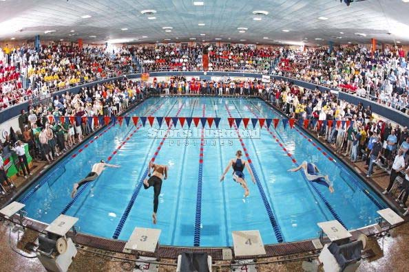 The Evanston Township Pool in suburban Chicago may be only 6 lanes, but the atmosphere is unparalleled in high school swimming. (Photo: Evanston Township)