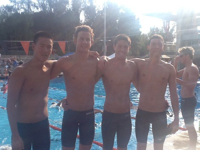 From left to right, Samuel Jo (24.26), senior Peter Kropp (24.52), junior Oliver Maarse (22.21) and junior Corey John (20.17), winners of the men's 200 medley relay. (Photo: Victoria Lepesant)
