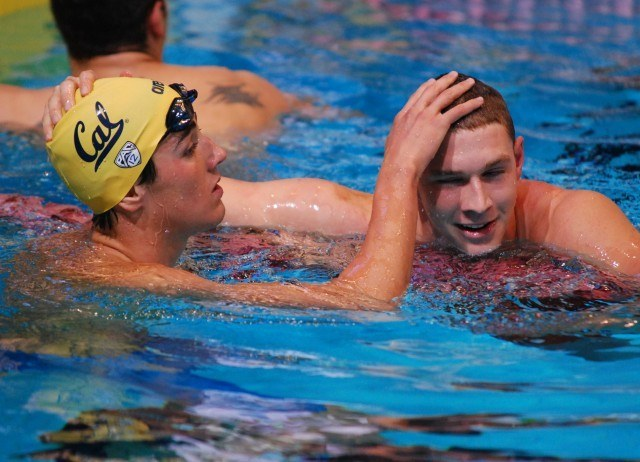 Two future teammates congratulate each other after racing at the 2013 World Championship Trials (Photo Credit: Janna Schulze, swimswam.com)