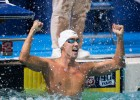 Eugene Godsoe wins the 50 butterfly with a time of 23.29 at the 2013 World Championship Trials.