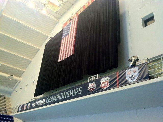 A black curtain has been hung on the opposite wall of the scoreboard behind the American flag. (Photo: Tony Carroll)