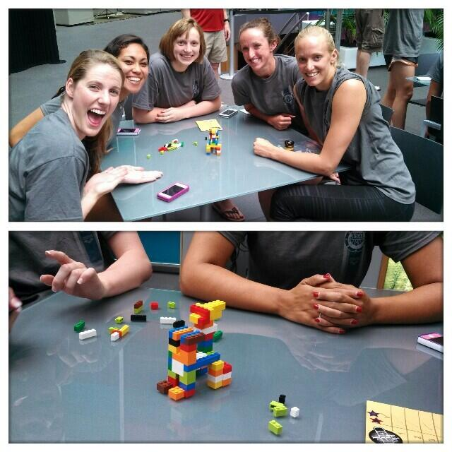 Team USA team building, playing legos