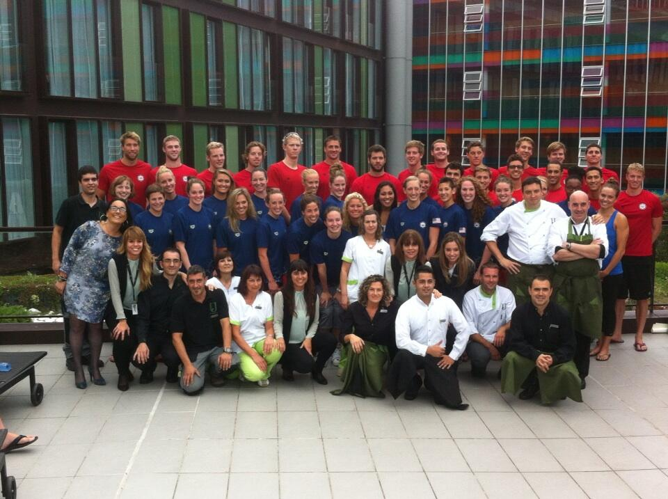 US Worlds Team...with...BREAKING NEWS.... Anthony Ervin actually looking at the camera!!!!