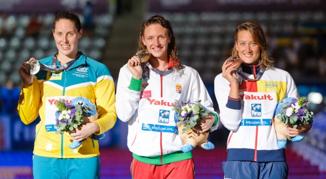 200 IM winners Alicia Coutts (AUS silver) Katinka Hosszu (HUN gold) Mireia Belmonte-Garcia (Spain Bronze) , 2013 FINA World Championships (Photo Credit: Victor Puig, victorpuig.com)