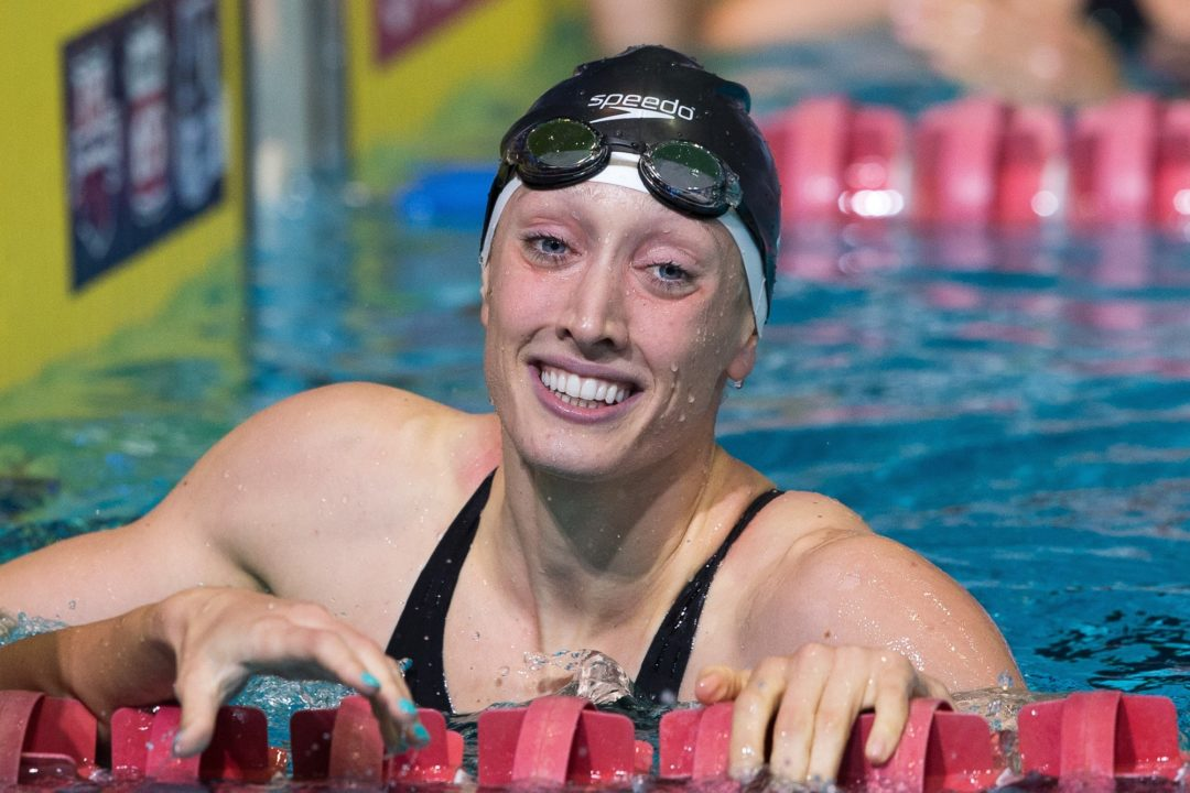 Breeja Larson sneaks under her own American and NCAA records in 100 breast with late surge to 57.23