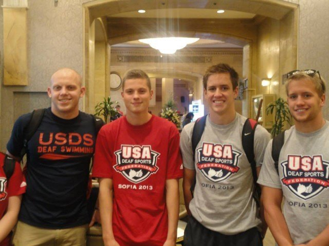 The American men's 400 free relay after finishing 4th at the DeafLympics.