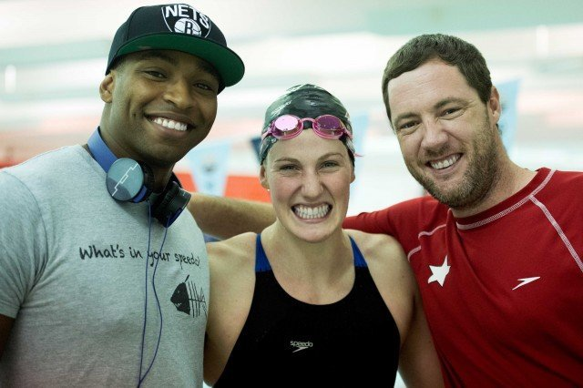put fun first. Cullen Jones, Missy Franklin and Coach Todd Schmitz keep it light before Missy's 100 back.  (photo: Mike Lewis, Ola Vista Photography)