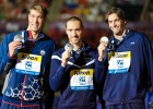 Matt Grevers, Jeremy Stravius, Camille LaCourt, men's 50 backstroke fina, 2013 FINA World Championships (Photo Credit: Victor Puig)
