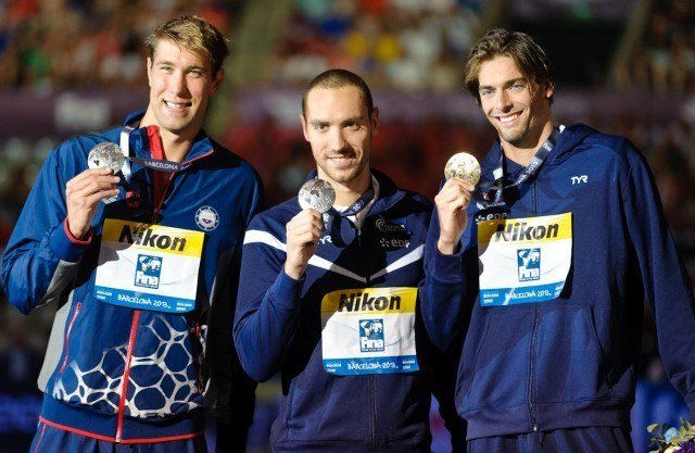 Matt Grevers, Jeremy Stravius, Camille LaCourt, men's 50 backstroke fina, 2013 FINA World Championships (Photo Credit: Victor Puig)