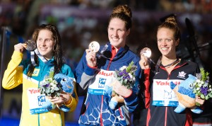 Hilary Caldwell, Missy Franklin, Belinda Hocking, 200 backstroke final, 2013 FINA World Championships (Photo Credit: Victor Puig)