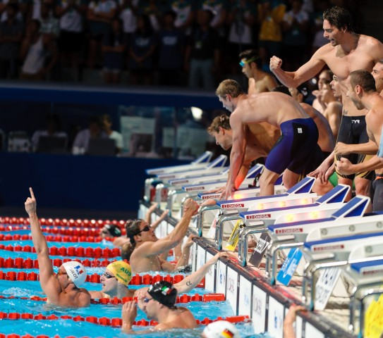Men's 4x100 medley relay final,  2013 FINA World Championships (Photo Credit: Victor Puig)