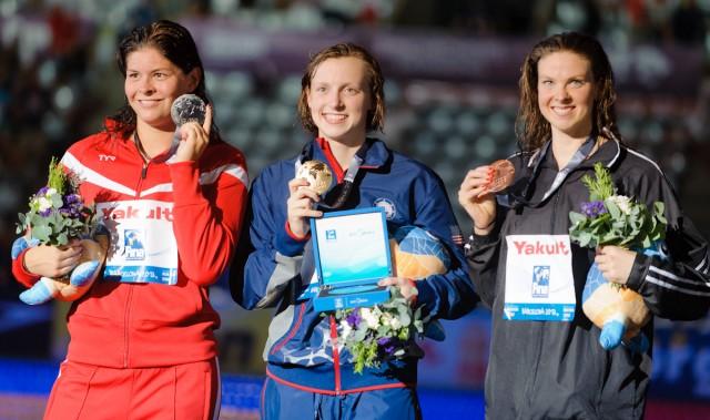 Lotte Friis, Katie Ledecky, Lauren Boyle, 800 freestyle final, 2013 FINA World Championships (Photo Credit: Victor Puig)