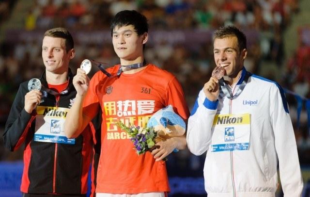 Ryan Cochrane, Sun Yang, Gregorio Paltrinieri, 2013 Worlds, 1500 Free (Credit: Victor Puig, victorpuig.com)