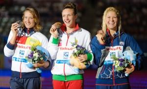 Mireia Belmonte Garcia, Katinka Hosszu, Elizabeth Beisel, women's 400 IM final, 2013 FINA World Championships (Photo Credit: Victor Puig)