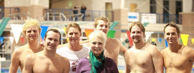 Brendan Hansen, Josh Davis (& his mother), Jimmy Feigen, Ian Crocker & Aaron Peirsol at the Fastest Man in Texas Shootout (Image courtesy of MOO BOCS)