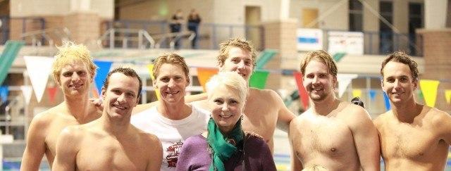 Brendan Hansen, Josh Davis (& his mother), Jimmy Feigen, Ian Crocker & Aaron Peirsol at the Fastest Man in Texas Shootout (Image courtesy of MOO BOCS)