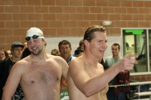 Olympic Champions Josh Davis and Ian Crocker at a Mutual of Omaha BREAKout Swim Clinic (Image courtesy of MOO BOSC)