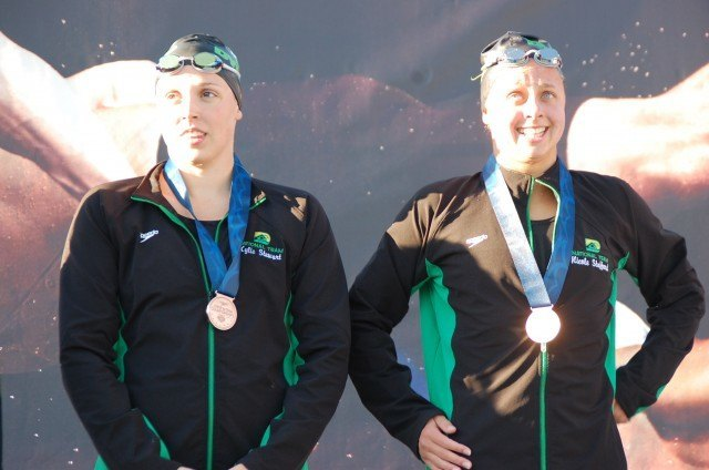 Stewart & Stafford of Dynamo, 200 free, 2013 Junior Nationals (Photo Credit: Anne Lepesant)