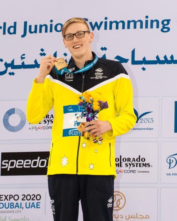 Mack Horton presented the Georgina Hope Foundation Rising Star of the Australian Swim Team