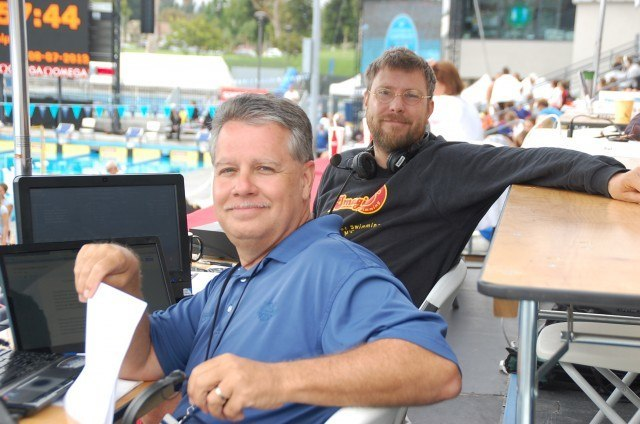 The voices of swimming, Sam and Mike, 2013 Junior Nationals (Photo Credit: Anne Lepesant)