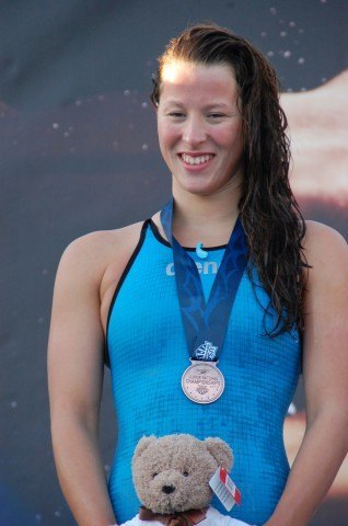 Hannah Weiss, 100 back, 2013 Junior Nationals (Photo Credit: Anne Lepesant)