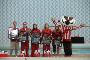 UW seniors (L-R) Addison Winger, Tyler Hines, Trish Nelson, Rebecka Palm, Jennah Haney (photo courtesy of Jeremy Wodajo/Wisconsin Athletics)